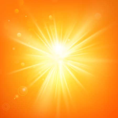 Summer template hot summer sun rays burst with lens flare.