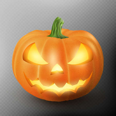 Lighten Jack O Lantern glowing halloween realistic smile face pumpkin with candle light inside. Scary expression. EPS 10 vector file included