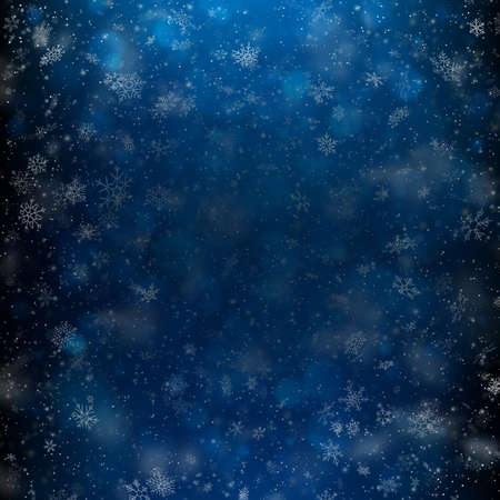 Fallen defocused light and snowflakes. Winter dark background template. EPS 10 vector file included 向量圖像
