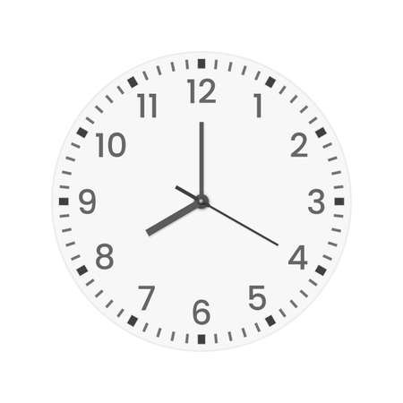 Realistic clock face with minute, hour numbers and second hand. Red center. Symbol watch isolated on white, to use for web and mobile UI. EPS 10 vector file included