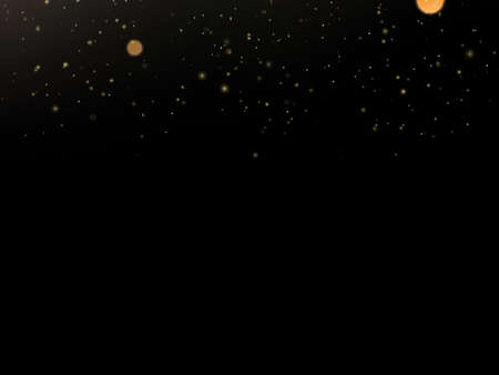 Glitter particles overlay effect. Gold glittering star dust sparkling particles on black background. EPS 10 vector file