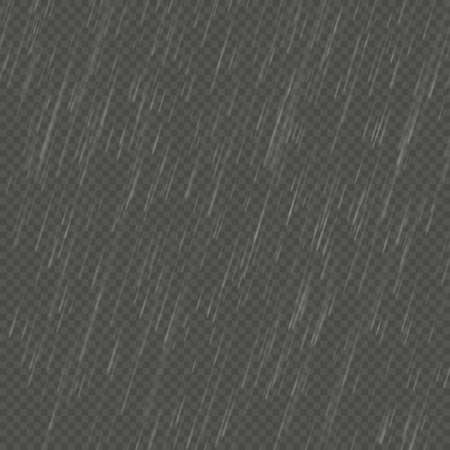 Rain isolated realistic anglewise effect. Transparent nature rainfall template. EPS 10