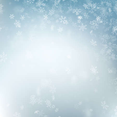 Abstract Christmas background with snowflakes. Elegant blue winter template. Eps 10 vector file
