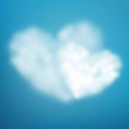 Pair heart shaped cloud in the blue sky. Imagens