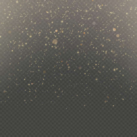 Particles overlay effect glitter of gold glowing magic shine and star dust.