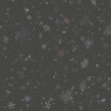 Falling snow flake purple overlay effect teplate isolated on transparent background. EPS 10 vector file
