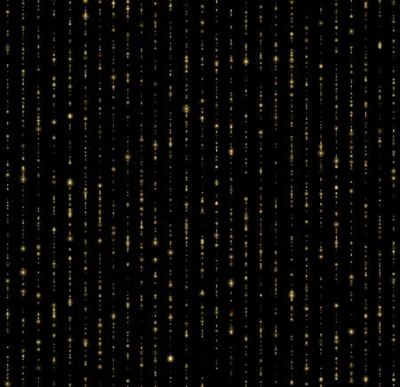 Seamless unique gold rain bokeh on black background. Glitter threads of curtain backdrop. Holiday garland lights or fashion star drops for carnival, Christmas, New Year decoration. Imagens