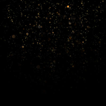 Gold particles lines rain. Sparkling of shimmering light blurs. Glitter threads of curtain backdrop on black. Christmas and New Year effect. Sparkling of shimmering light blurs. Imagens
