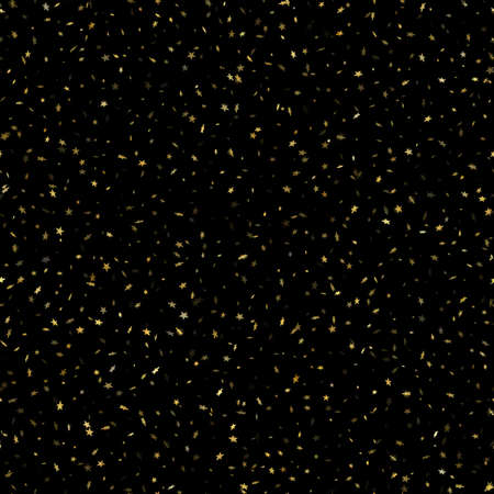 Seamless gold star confetti rain festive pattern effect. Golden volume stars falling down isolated on white background.