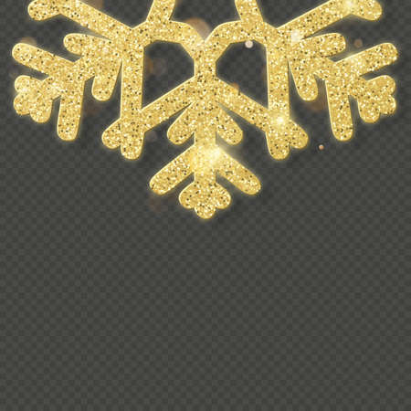 Christmas shining gold snowflake overlay object. Imagens