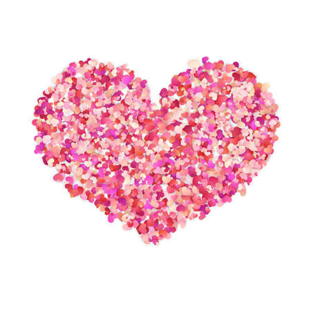 Heart shape color confetti. Valentines petals top view. Isolated on white background.