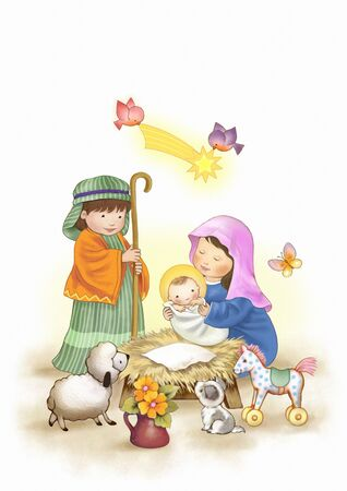 the birth of baby jesus Archivio Fotografico - 141228109