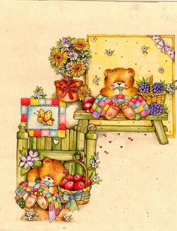 teddy bears with flowers and fruit Archivio Fotografico
