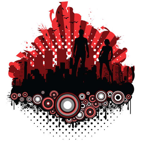 City grunge retro design with silhouettes