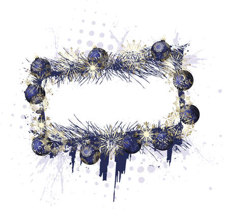Grunge christmas purple decorative frame with baubles on a white background Standard-Bild