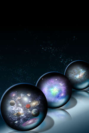 Space glass balls on a dark background Stock Photo