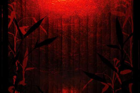 竹の木のシルエットと赤と黒の背景