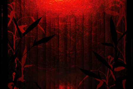 Red and black background with bamboo tree silhouettes