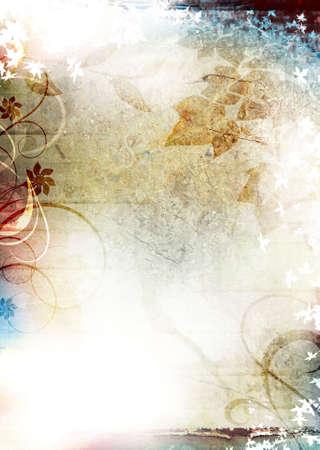 グランジ テクスチャ背景の葉と飾りと