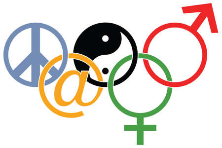symbols: sports competition logo with Yin and yang, peace, man, woman and at symbols