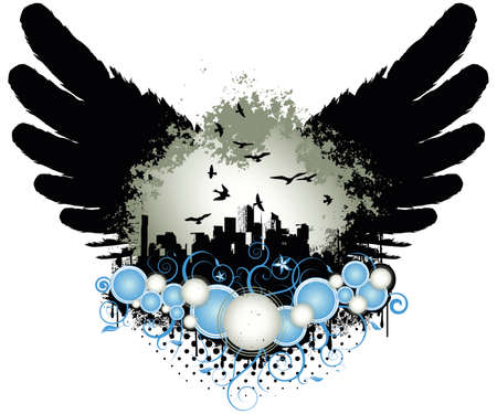Grunge design vector illustration with wings, city and ornaments