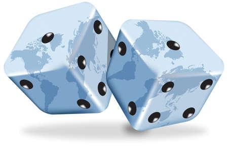 白い背景の上の世界地図で青いサイコロのベクトル イラスト  イラスト・ベクター素材