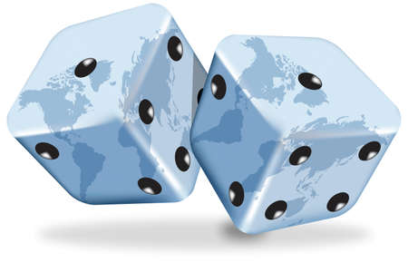 Vector illustration of blue dices with the world map on white background