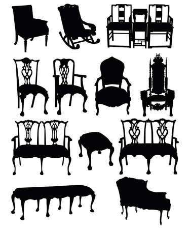 イラスト アンティークの椅子、白い背景にシルエット  イラスト・ベクター素材