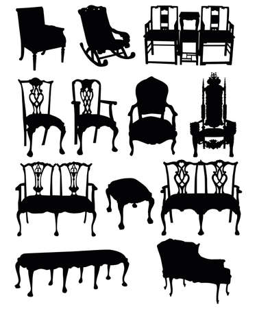 illustrations of antique chairs silhouettes on a white background