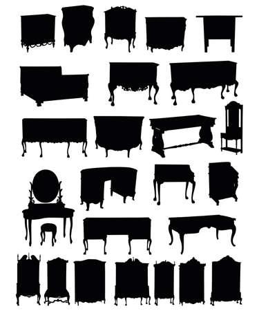 アンティークの家具、白い背景にシルエットのイラスト