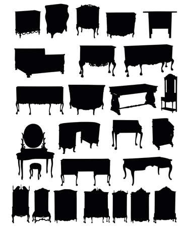 illustrations of antique furniture silhouettes on a white background