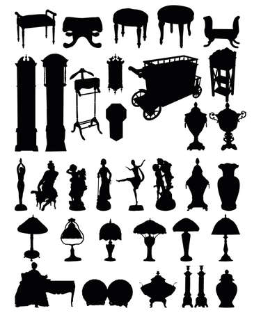 victorian wallpaper:  illustrations of antique objects silhouettes on a white background Illustration
