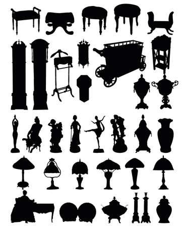 antique woman: ilustraciones de siluetas de objetos antiguos sobre un fondo blanco  Vectores