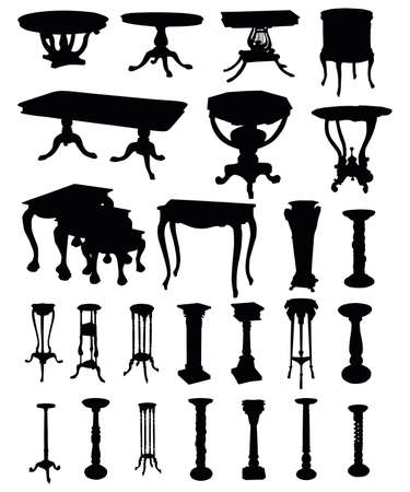 illustrations of antique tables silhouettes on a white background