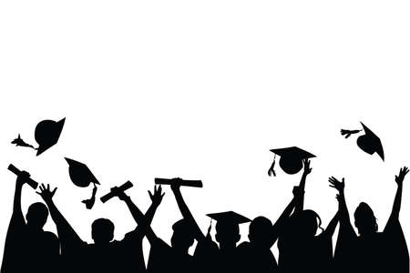 illustrazione di un gruppo di laureati tirare loro berretti in festa di laurea  Vettoriali