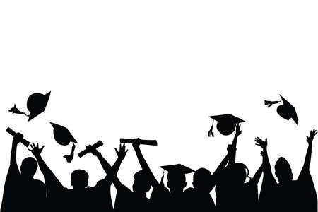 Ilustración de un grupo de graduados, lanzando sus gorras en celebración de graduación Ilustración de vector