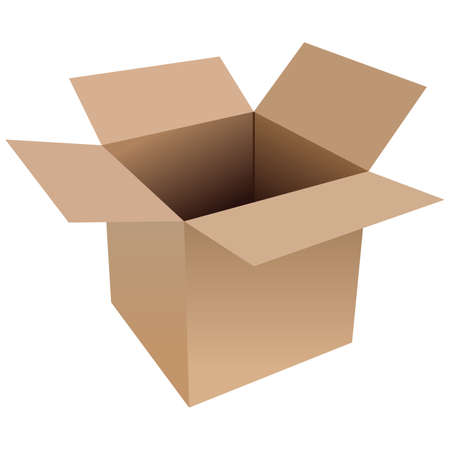 Illustration of an open cardboard box on a white background