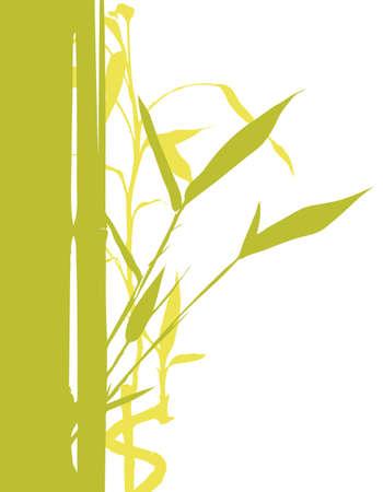 白の背景に竹の木のシルエットの図  イラスト・ベクター素材