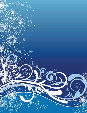 クリスマスは雪の花の背景のイラスト
