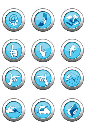 illustration of blue icon set with metal border isolated on white