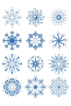 illustration of blue decorative snowflake ornaments on white background