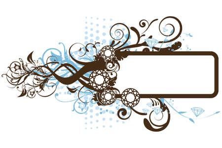 白い背景の上のダイヤモンドの花のフレームの図  イラスト・ベクター素材