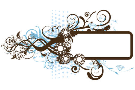 illustration of floral frame with diamonds on a white background Иллюстрация
