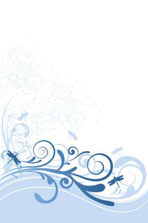 トンボ、装飾品や円で花の背景のイラスト