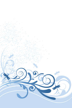 Illustration of floral background with dragonflies, ornaments and circles