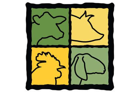 白の背景に色を変更する簡単なファーム動物アイコンの図