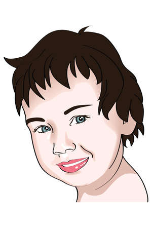 illustration of a little girl portrait with brown hair Illustration