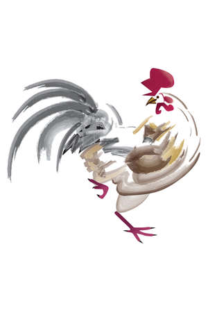 Artistic paintbrush illustration of a rooster on a white background Illustration