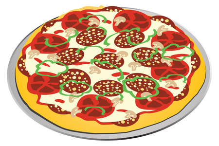 illustration of a all dressed pizza on a metal plate on a white background Illustration