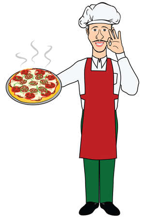 caterer: illustration of a chef with a pizza on a white background Illustration